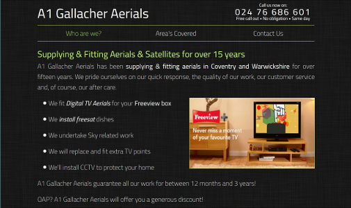 A1 Gallacher Aerials - Coventry Aerials - Now