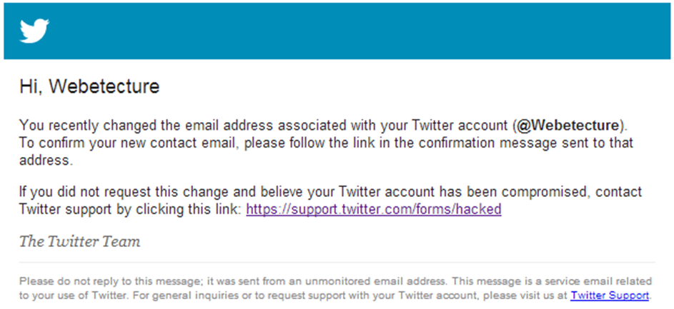 Twitter Compromised - Alarming Email
